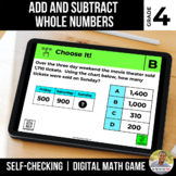 4th Grade Digital Math Game | Add and Subtract Numbers | D
