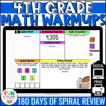 4th Grade Math Morning Work   Digital Warm Ups   Distance Learning