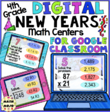 4th Grade Digital New Years Math Review Centers