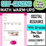 4th Grade Digital Self-Grading Math Warm-Ups Growing Bundle