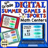 4th Grade Digital Summer Games and Sports Math Centers