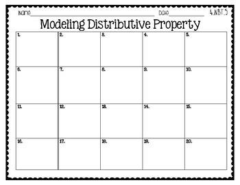 4th Grade Task Cards | Distributive Property 4.NBT.5