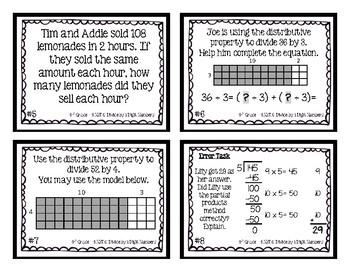 4th Grade Task Cards| Divide By 1 Digit Divisors 4.NBT.6