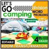 4th Grade Division Word Problems | Camping Room Transformation