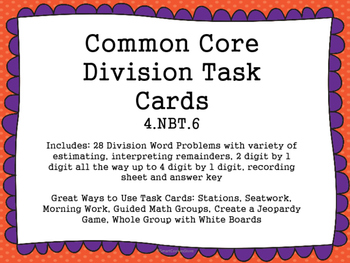 4th Grade Division Common Core Task Cards 4.NBT.6
