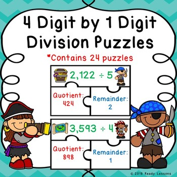 4th Grade Division Game Puzzle 4 Digit by 1 Digit Division & Remainders 4.NBT.6