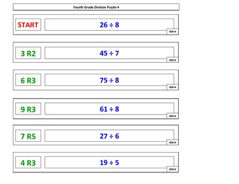 4th Grade Division Puzzle Games for Common Core