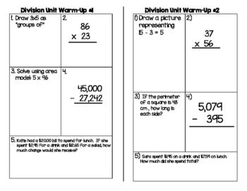 4th Grade Division Unit Daily Warm-Ups