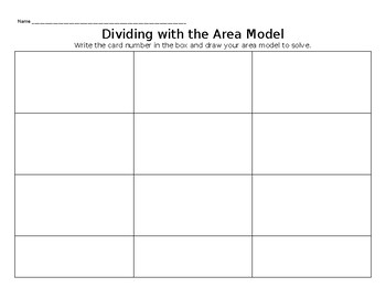Division Using the Area Model With & Without Remainders Task Cards 4.NBT