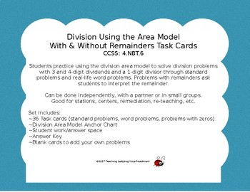 4th Grade Division Using the Area Model With & Without Rem