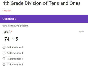 4th Grade Division of Whole Numbers Google Forms Assessments 3 Quick Checks