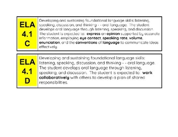 4th Grade ELA And Social Studies TEK Cards