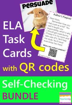 ELA Task Cards with QR Codes BUNDLE