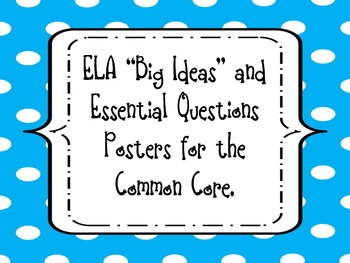 """4th Grade ELA """"Big Ideas"""" and Essential Questions Posters for the Common Core"""