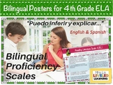 4th Grade ELA Bilingual Posters with Learning Goals and Scales
