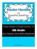4th Grade ELA CCSS - Teacher Checklist & Essential Questions
