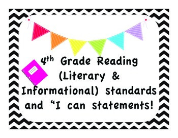 """4th Grade ELA CCSS with """"I Can"""" Statements - Chevron"""