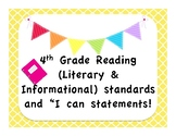 """4th Grade ELA CCSS with """"I Can"""" Statements - Bright"""