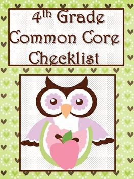 4th Grade ELA Common Core Checklist - Lesson Planning Form