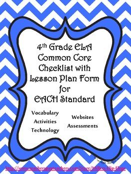 4th Grade ELA Common Core Checklist - Lesson Planning Form - Blue Chevron
