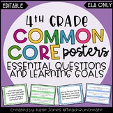 4th Grade ELA Common Core {Essential Qs & Learning Goals -