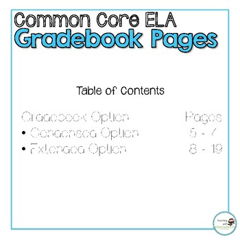 4th Grade ELA Common Core Gradebook Pages **EDITABLE**