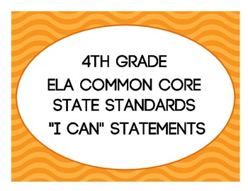"4th Grade ELA Common Core ""I Can"" Posters"