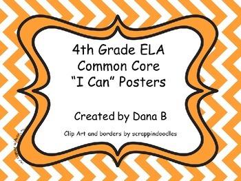 """4th Grade ELA Common Core """"I Can"""" Posters - Chevron"""