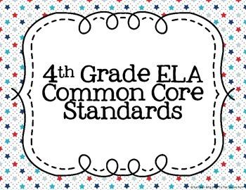 4th Grade ELA Common Core Posters- Nautical Print