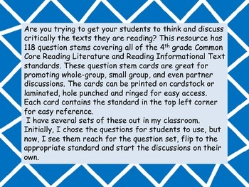 4th Grade ELA Common Core Question Stem Cards
