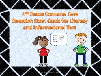 4th Grade ELA Common Core Question Stem Cards