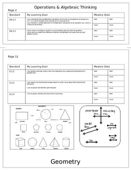 4th Grade Math Common Core Student Mastery Tracking Flip Book