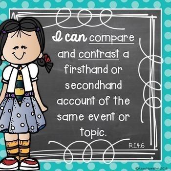 I Can Statements - 4th Grade ELA - Chalkboard & Polka Dot