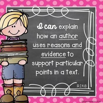 I Can Statements 4th Grade ELA {Editable} - Chalkboard & Polka Dots