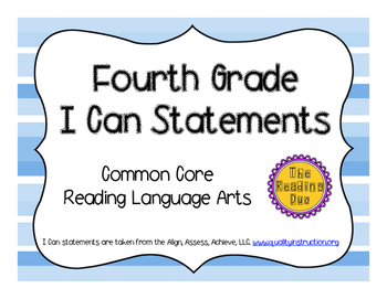 4th Grade ELA I Can Statements