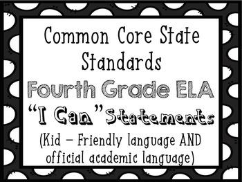 4th Grade ELA I Can...  Statements {CCSS Aligned}
