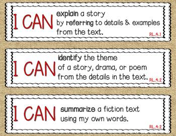 Common Core 4th Grade ELA- I Can Statements (CCSS)