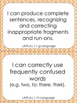 4th Grade ELA I Can Statements: Florida Standards