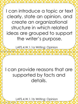 4th Grade ELA I Can Statements: Florida Standards