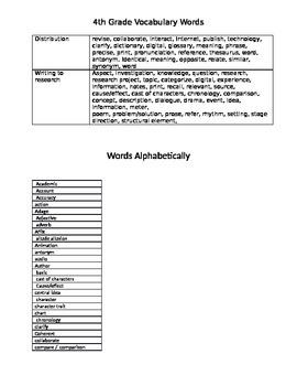 4th Grade ELA LAFS Academic Vocabulary