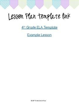 4th Grade ELA Lesson Plan Template