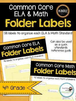 4th Grade ELA & Math CCSS Folder Labels **BUNDLE**