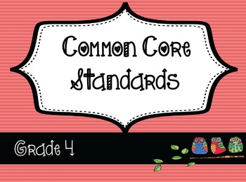 4th Grade ELA / Math Common Core Posters -Funky Owl Theme