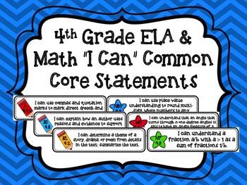 "4th Grade ELA & Math ""I Can"" Common Core Standards"
