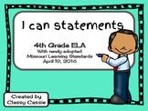 4th Grade ELA Missouri Learning Standards I can Statement & Checklist