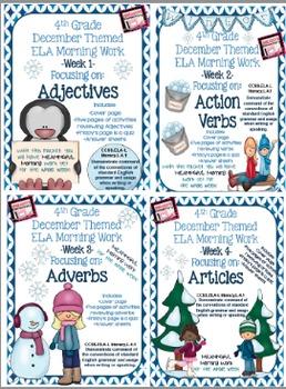 4th Grade ELA Morning Work/Bell Work: WHOLE month! Decembe