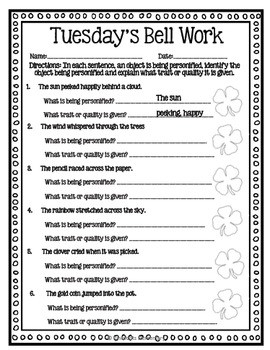 Grade ELA Morning Work/Bell Work: WHOLE month! MARCH Themed Worksheets!