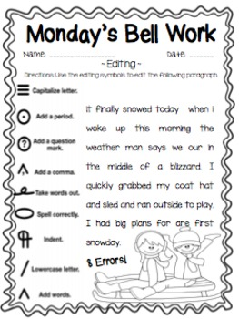 4th Grade ELA Morning Work/Bell Work: WHOLE month! January Themed Worksheets!