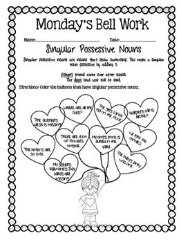 4th Grade ELA Morning Work/Bell Work: WHOLE month! February Themed Worksheets!