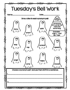 4th Grade ELA Morning Work/Bell Work: WHOLE month! October ...